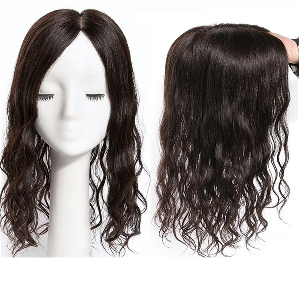 BYMC 13*14cm Lace With Silk Base Replacement System Human Hair Toupee For Women Loose Wave With Clips Cover White Hair