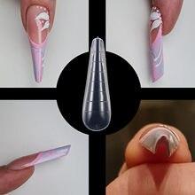 Molde de extensión de uñas postizas para manicura, molde transparente de doble forma para Gel UV, puntas de construcción rápida, con Clips, formas superiores de arte DIY