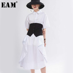 Женское платье-рубашка EAM, белое платье большого размера с отложным воротником и коротким рукавом, весенне-летняя мода 2020 1T657