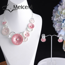 MeiceM Fashion Big Pendant Necklace for Women Lady Party Trendy Necklace Set Round Choker Necklaces 2021 Hot Sale Friend Gifts