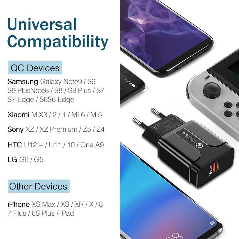 سريع تهمة 3.0 18W كوالكوم QC 3.0 4.0 سريع شاحن USB المحمولة شحن الهاتف المحمول شاحن آيفون سامسونج Xiaomi