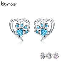 Boucles d'oreilles en forme de patte en cristal bleu bamoer pour fille en forme de coeur en forme de coeur, empreinte de patte, clous d'oreilles, Bijoux pour femmes 2019 nouveau Design Bijoux SCE654