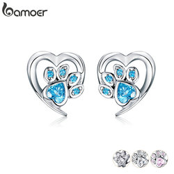 bamoer Blue Crystal Paw Stud Earrings for Girl Heart Shape CZ Footprint Ear Studs Jewelry Women 2019 New Design Bijoux SCE654