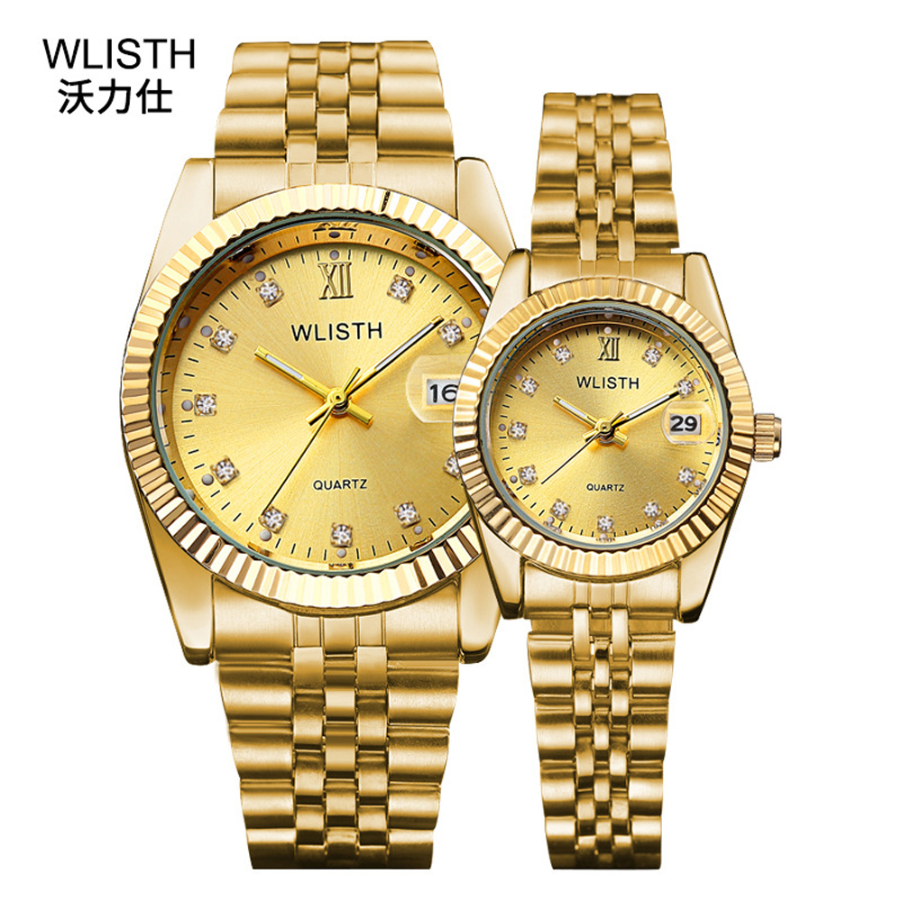 Gold Watches For Lovers 2020 Wlisth Brand Luxury Business Quartz Watches Men And Women Pair Hours Steel Waterproof Couple Watch