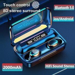 Image 1 - Bluetooth 5.0 fones de ouvido F9 5 tws fone de ouvido sem fio 8d baixo estéreo in ear fones handsfree fone de ouvido com microfone caso de carregamento