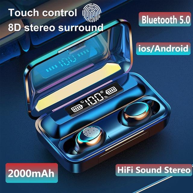 Bluetooth 5.0 fones de ouvido F9 5 tws fone de ouvido sem fio 8d baixo estéreo in ear fones handsfree fone de ouvido com microfone caso de carregamento