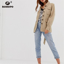 купить ROHOPO Khaki Mid Length Woman Solid Cotton Trench Coat Belted Buttons British Academy Pockets Windbreaker #9515 дешево