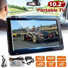 10.2 pouces 12V Portable numérique analogique télévision DVB-T / DVB-T2 TFT LED HD TV soutien TF carte USB Audio extérieur voiture télévision
