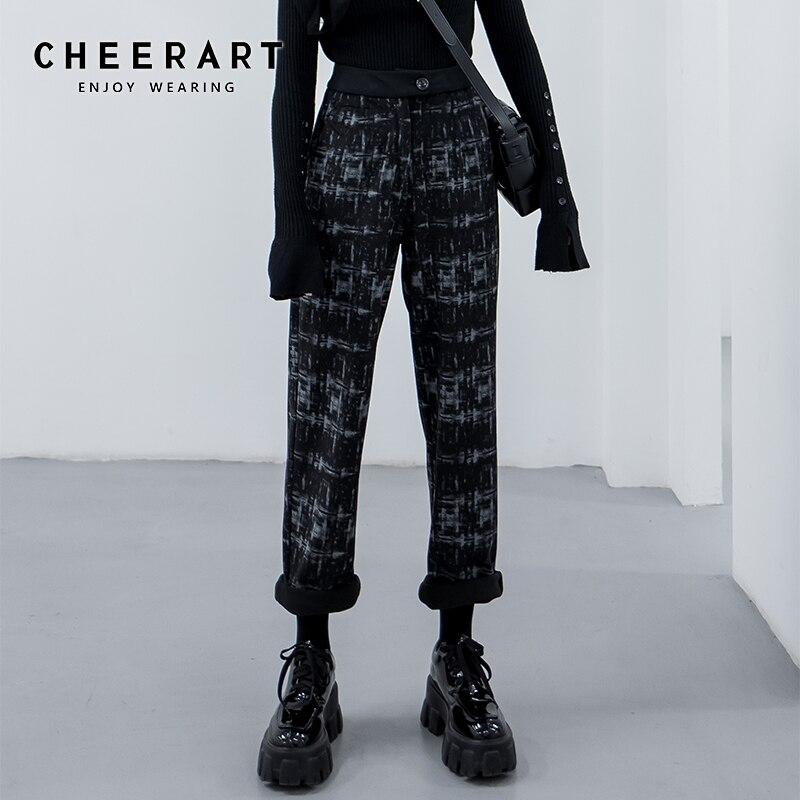 CHEERART Corduroy Pants Women Trousers Print High Waist Straight Leg Long Pants Black Harajuku Pants 2020 Spring