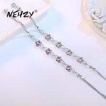 NEHZY-bijoux en argent sterling 925, bracelet rétro, haute qualité, à la mode, prune, cristal violet, longueur 20.5CM