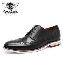 DESAI Men Casual Derby Shoes Formal Brogue Real Genuine Leather
