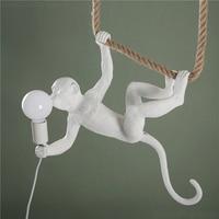 Moderne Schwarz Weiß Tier Anhänger Lichter Affe Lampe Harz Hanf Seil Hängen Lampe Wohnzimmer Affe Licht Indoor Anhänger Lampe