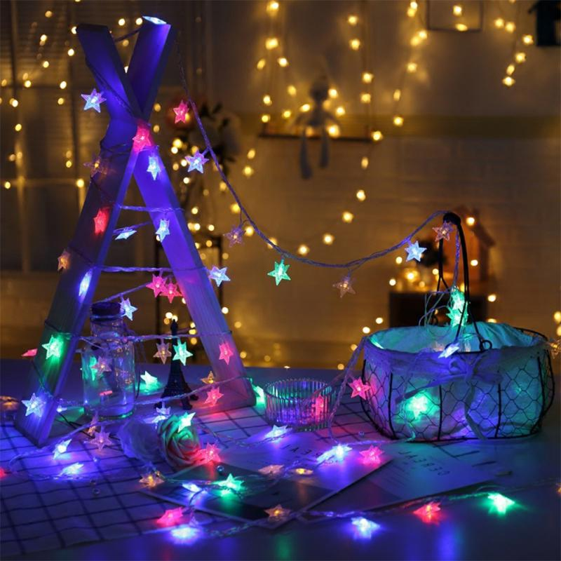 Christmas Party New Year's Garland Decor Colorful 20LED Indoor Star Fairy Lights String , For Holiday Christmas Birthaday Lights