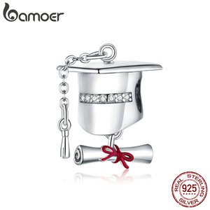 bamoer Genuine 925 Sterling Silver CZ Square College Cap Metal Charm for Original Silver Bracelet Cute DIY Charms Gift BSC357