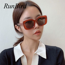 RunBird 2020 Vintage Square Sunglasses Oversized Women Men Brand Design Thick Fr
