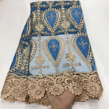 Guipure Lace Fabrics 2020 New arrival High Quality Tulle embroidery French Nigerian Voile Lace African Lace Fabric for wedding