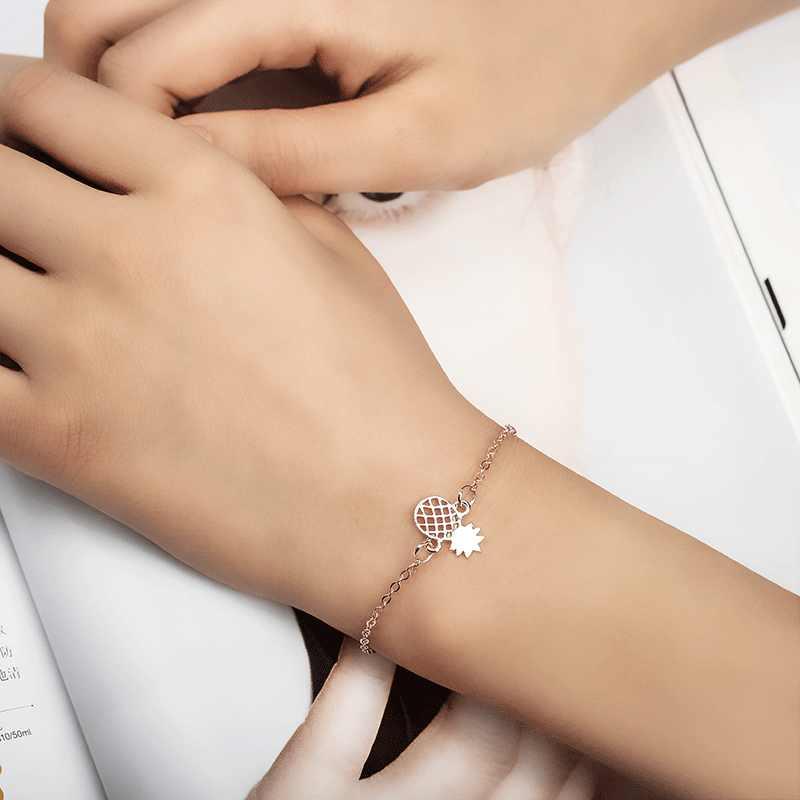Minimalismo pulsera de piña para mujer Regalos delicados BFF joyería amistad Acero inoxidable oro rosa Ananas pulsera femenina