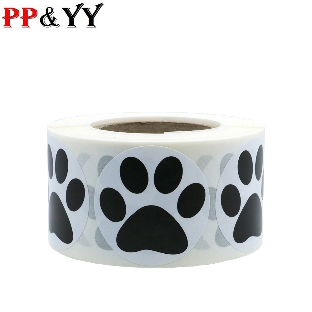 500pcs Black Paw Print Stickers Dog Cat Bear Paw Labels Stickers For Laptop Reward Sticker Stationery Teacher For Student