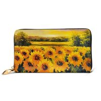 NOISYDESIGNS Genuine Leather Women Wallet Luxury Sunflowers Printing Zipper Long Portfel Card Bag Vintage Carteria Purse