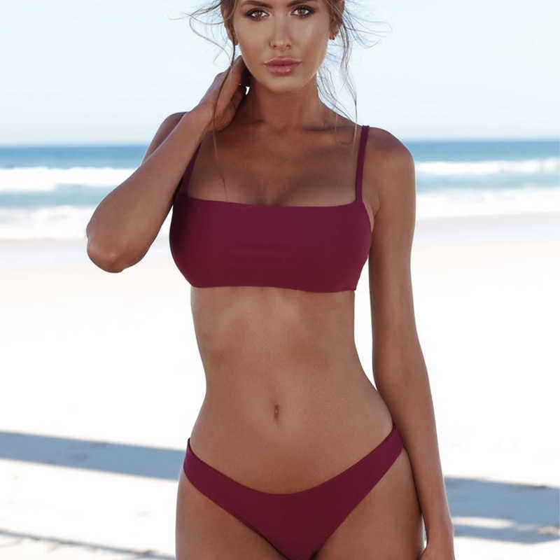 Uitsnede Top Halter Bikini Bandeau Bikini 2019 Mujer Push Up Badpakken Thong Bikini Set Sexy Plus Size Badmode vrouwen