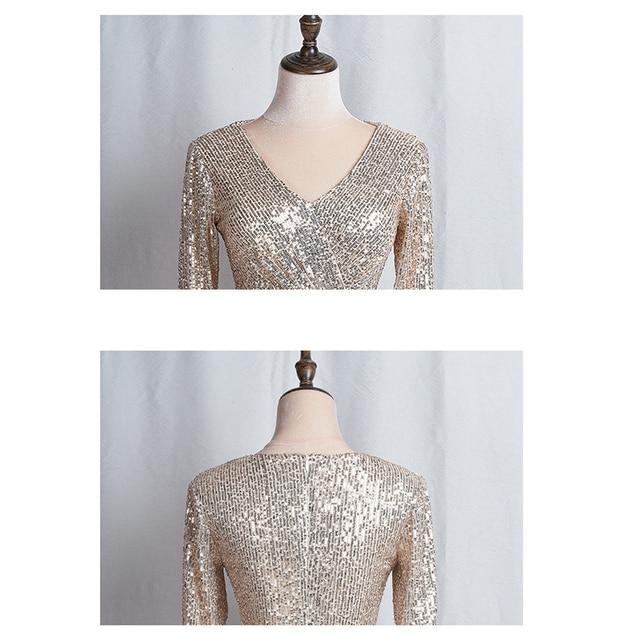 Long Sleeves Evening Gowns Champagne Gold V-neck Split Formal Dress K059 Long Mermaid Robe De Soiree 2020 Sequins Evening Dress 6