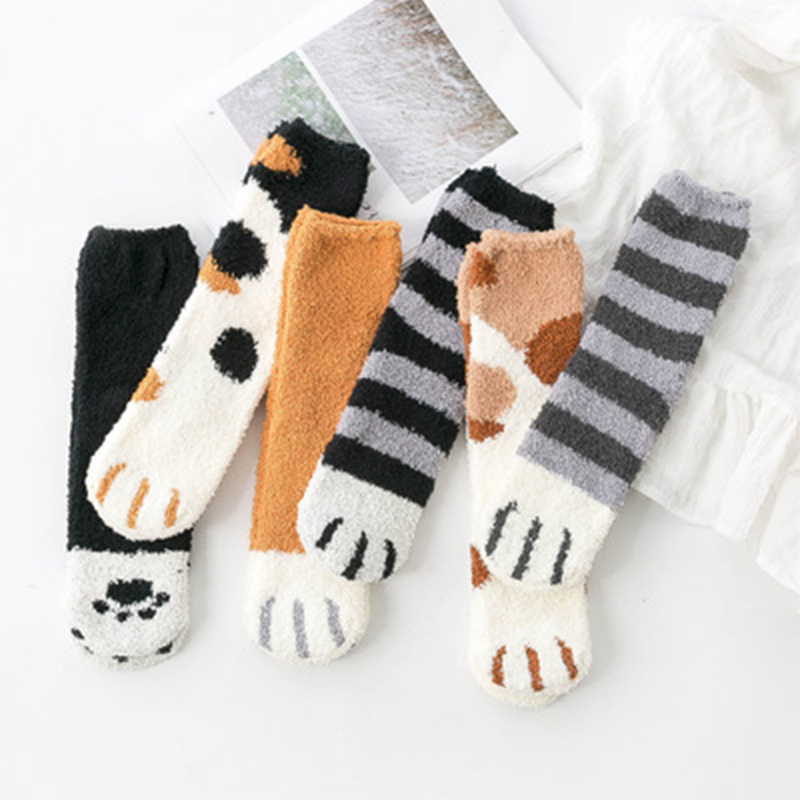 SVOKOR pamuk çorap kış komik baskı kedi pençe sıcak tutan çoraplar Kawaii sevimli rahat mutlu moda tasarımcısı erkekler kadınlar için çorap