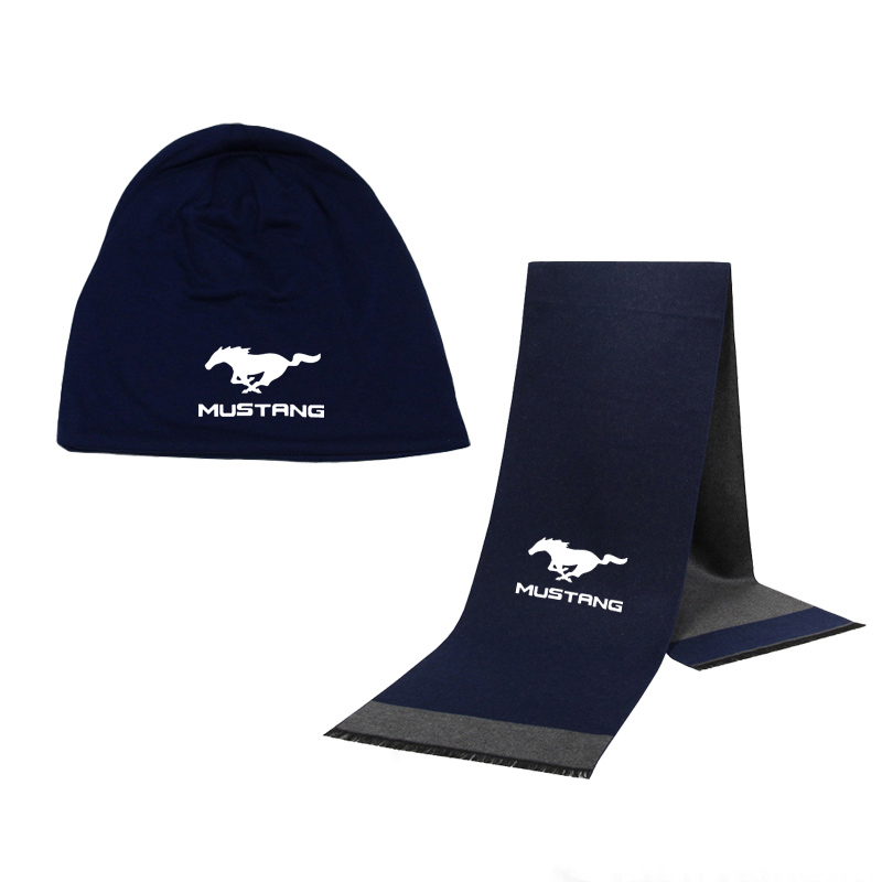 Winter Beanie Hat Mustang Car Logo Printed Men Hat Scarf Solid Color Warm Cotton Scarf Hat Set Male Female Sports Hat Scarf Set