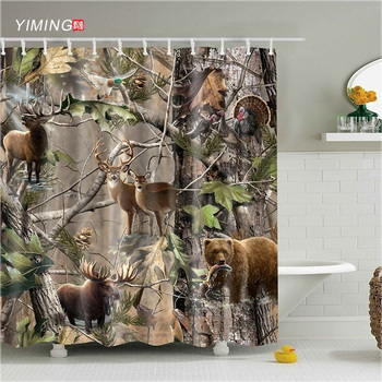 200x180 Forest Elk Wolf 3D various animal print shower curtain polyester waterproof home decoration curtain with hook