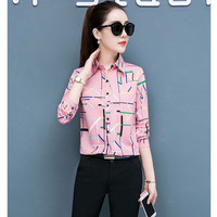 Blouse Women chiffon Floral Printing Patch Long Sleeves Top Shirt Blouses woman plus size S 5XL womens tops and blouses