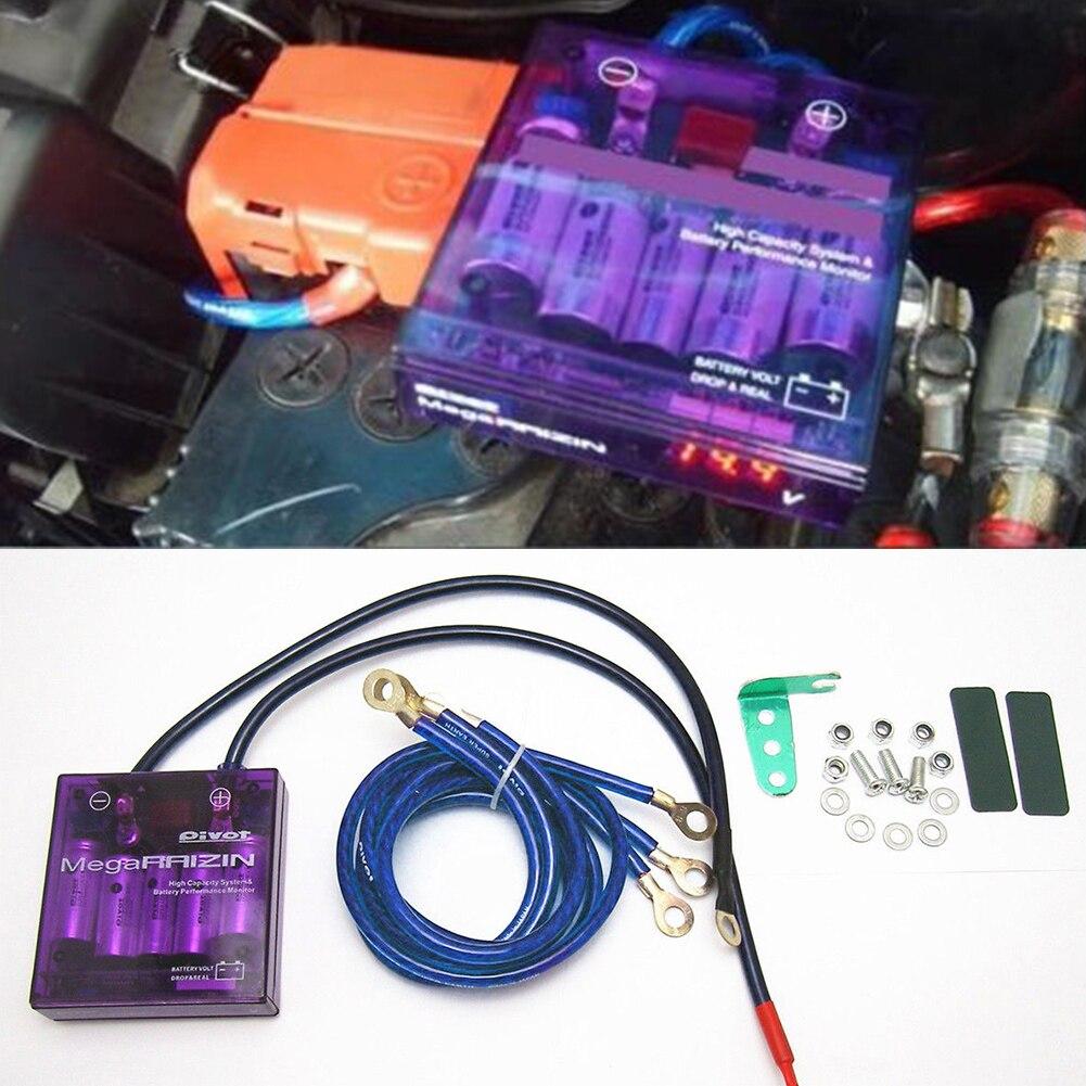 Estabilizador de tensão do carro universal roxa pivô mega raizin universal regulador de tensão de poupança de combustível do carro estabilizador