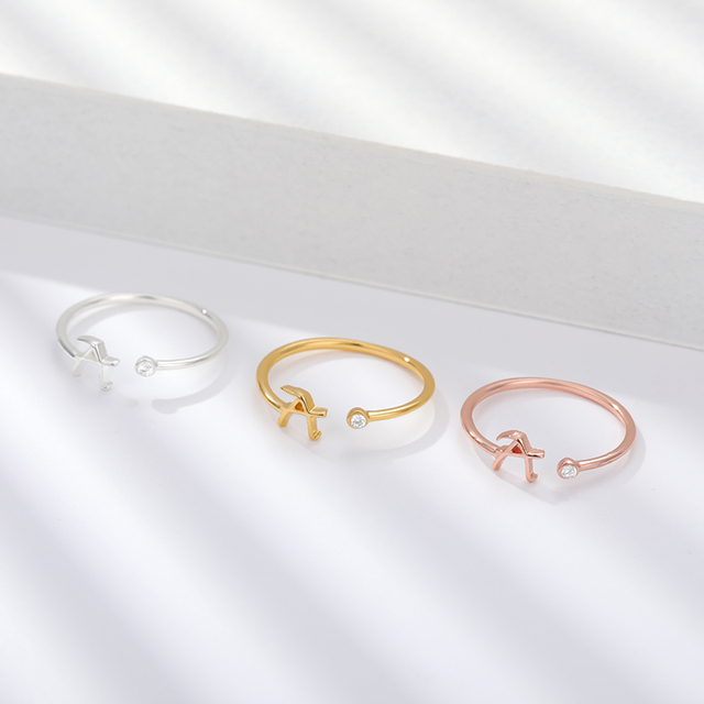 Stainless Steel A-Z 26 Letters Rings for Women Tiny Wedding Ring Alphabet Crystal Initial Rings Finger Jewelry Accessories Gift 6