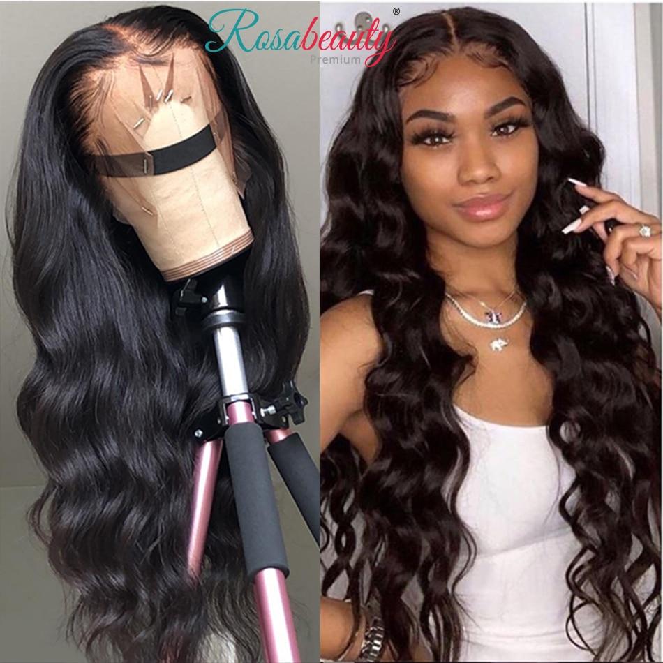 Rosabeauty onda do corpo 360 frente do laço perucas de cabelo humano peruano virgem preplucked cabelo 13x6 frontal onda de água profunda hd perucas completas