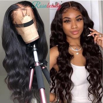 Rosabeauty vücut dalga 360 dantel ön İnsan saç peruk perulu bakire önceden koparıp saç 13x6 Frontal derin su dalgası hd tam peruk