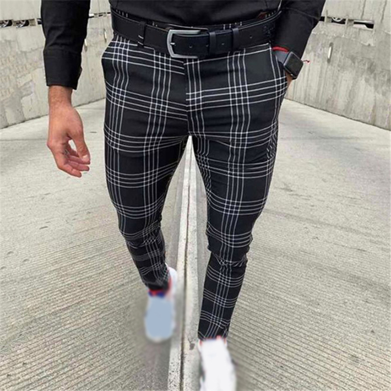 Newest Men's Casual Mid Waist Slim Pants Male Fashion Plaid Business Pocket Trousers Stretchy