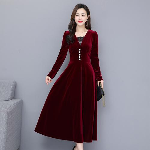 Maxi velour Dresses Woman