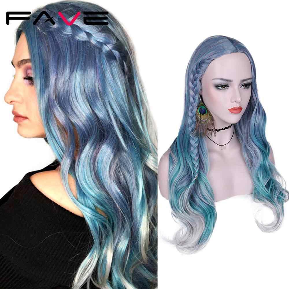 Pelo Largo ondulado FAVE, pelucas sintéticas mixtas violeta azul verde claro gris resistente al calor para mujeres, pelucas para fiesta de Halloween
