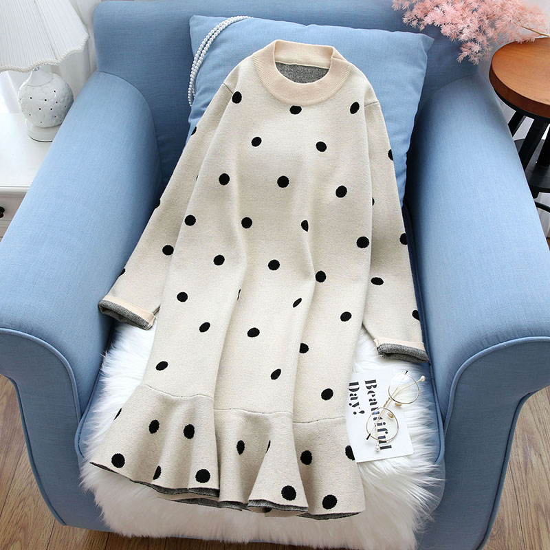 Ruffles Polka Dot Women Sweater And Pullovers 2019 Winter New Long Knitted Warm Thicken Pulls Outwear All Match Office Lady Tops