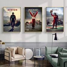 Vintage F1 Legendären fahrer Ayrton Senna Michael Lewis Colin Wand Kunst Poster und Drucke Leinwand Malerei Wohnzimmer Wohnkultur