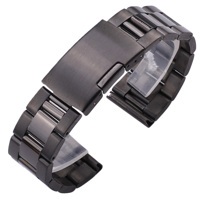 Silver Black Metal Watch Band Bracelet 18mm 20mm 22mm 24mm Men Watch Strap 316L Solid Stainless Steel Straight End Watchbands
