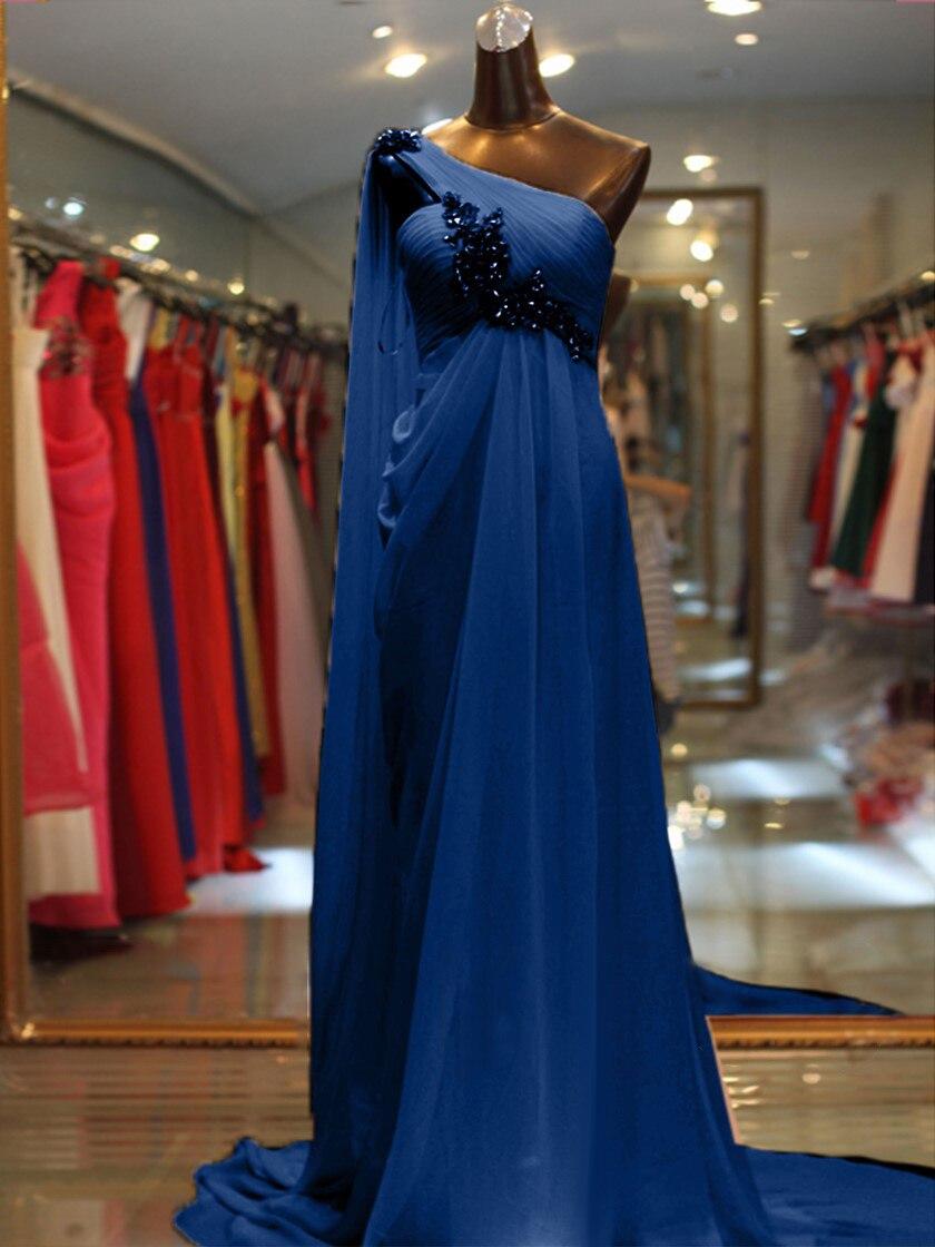 Vestido de noite simples um ombro sem mangas com miçangas/cristal vestidos de festa de noite vestidos de fiesta robe de soiree - 4