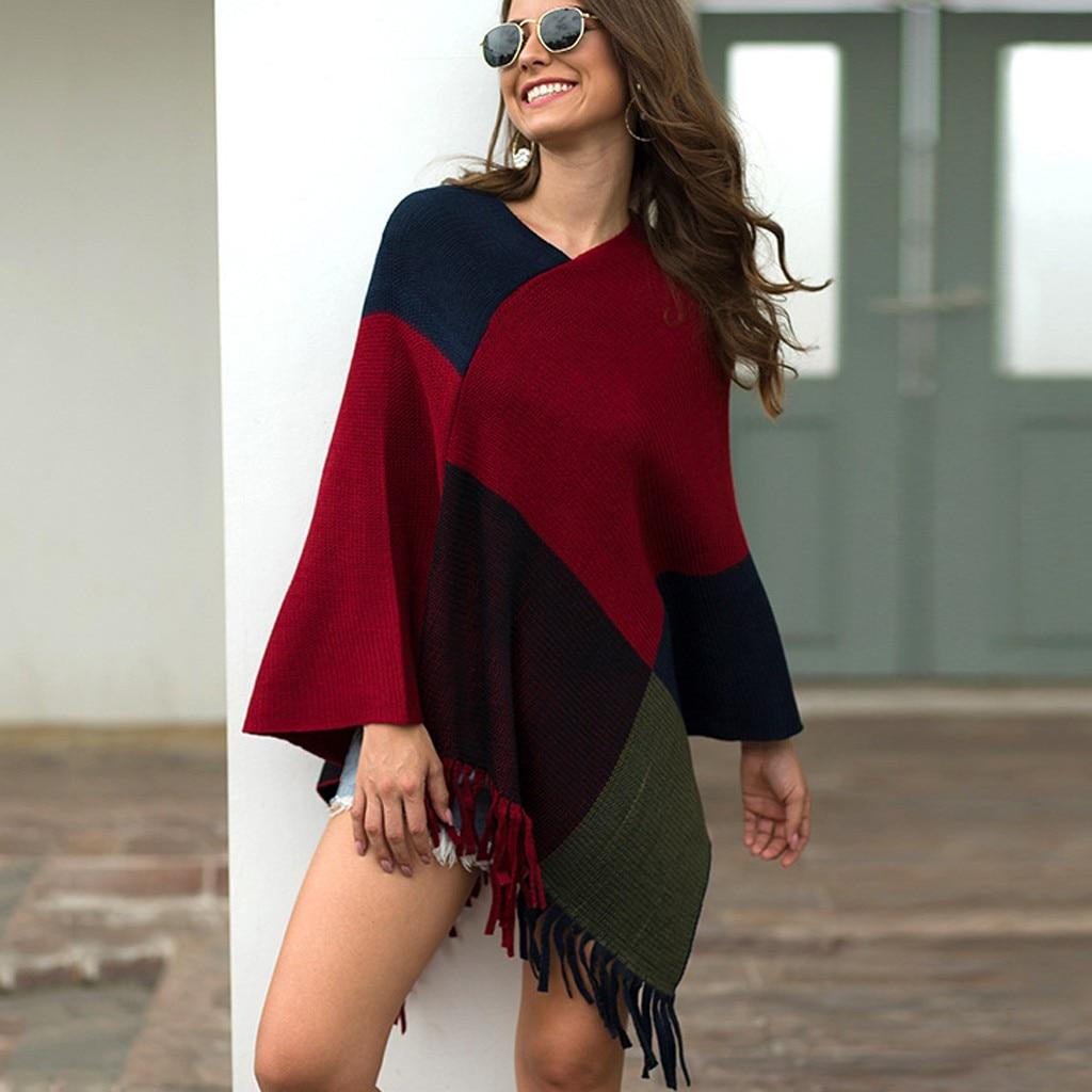 JAYCOSIN Sweater Women fashion loose pull femme V-Neck Irregular Patchwork Cloak Loose Shawl pullover Sweater Coat outwear 9726