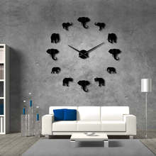 Big wall clock DIY Acrylic Mirror Gold Silver black Elephant Clock Living room decoration self-adhesive stickers