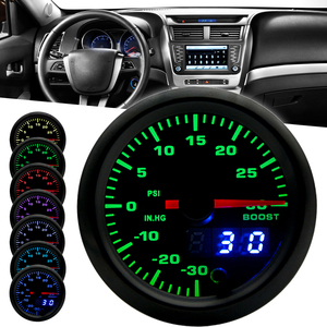 """Image 2 - 2"""" 52mm 7 Color LED Smoke Face Car Auto Bar Turbo Boost Gauge Meter with Sensor and Holder AD GA52BOOSTBAR"""