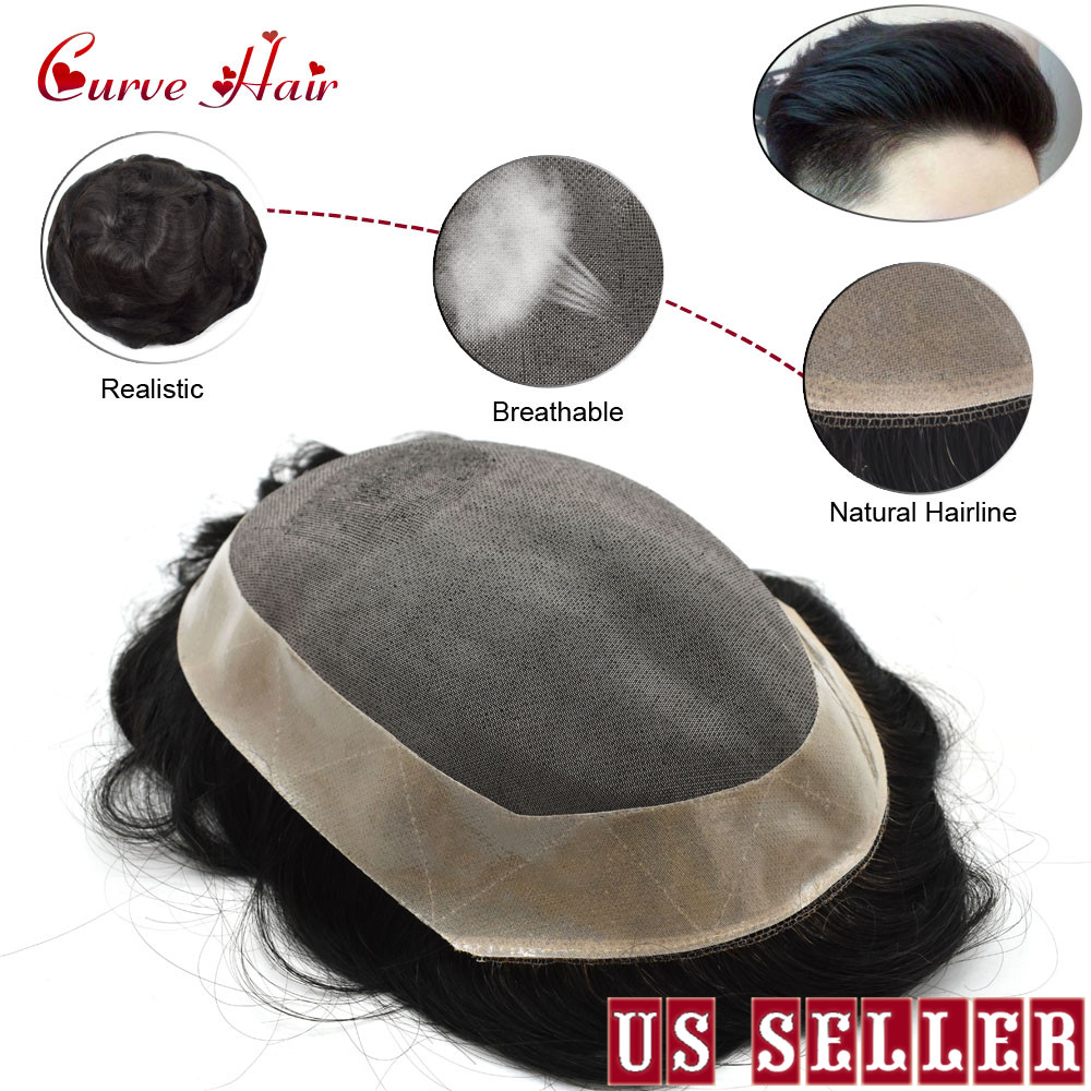 Fine Mono Mens Toupee Poly Coating Around Human Hair Replacement Hairpiece Monofilament Wig