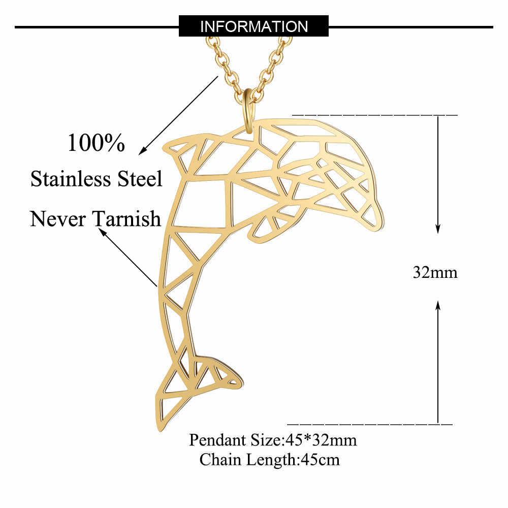 100% prawdziwe ze stali nierdzewnej pusta duży delfin naszyjnik Super jakość osobowość biżuteria Trend biżuteria naszyjniki specjalny prezent