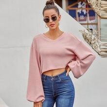 Женский вязаный пуловер с v образным вырезом и длинными рукавами