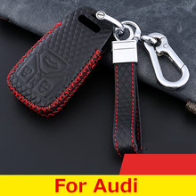 Car Accessories Top Laye Leather Car Key Case For Audi Key Cover Q3 Q5 Sline A3 A5 A6 C5 A4 B6 B7 B8 TT 80 S6 C6 Fob For Car Key(China)