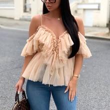 2019 Women Summer Spaghetti Strap V Neck Blouses Lace Up Front Ruffles Off Shoulder Shirt Tops Elegant Streetwear Blouse
