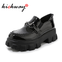цена на Women flats platform loafers ladies metal decoration slip-on thick soled casual shoes female women loafers black plus size 15 46