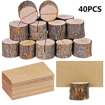 20 par naturalnie drewniane kora notesik Party dekoracyjne drewno nazwa stosu karteczka z miejscem posiadacze Menu dekoracje ślubne i urodzinowe tanie i dobre opinie CN (pochodzenie) Drewna HG24429A1